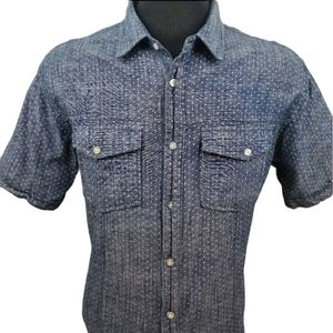 Ecko UNLTD. Casual Polka Dot Blue Shirt Size Large